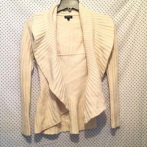 Express Cream Long Sleeve Open Cardigan Sweater